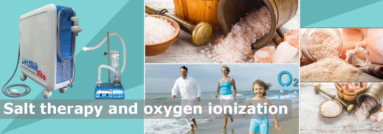 Salt therapy with oxigen ionization procedure
